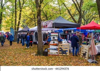 Arrowtown,New Zealand - April 23,2016 : People can seen exploring and shopping around the Art and Craft market during the Arrowtown Autumn Festival in New Zealand.