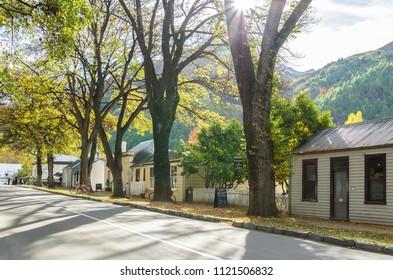 Arrowtown,New Zealand - April 27,2016 : Autumn landscape of historic town in Arrowtown, New Zealand