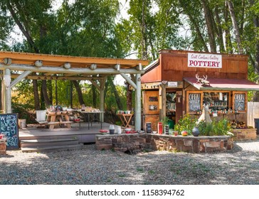 ARROYO SECO, NM, USA-12 JULY 18:  Scott Carlson's Gallery, displaying pottery, in the artists' village near Taos, NM.