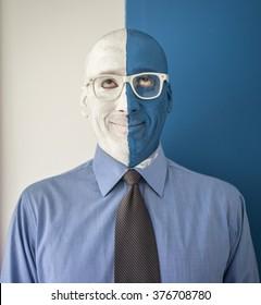 Arrtistic face portrait photo of a painted face man