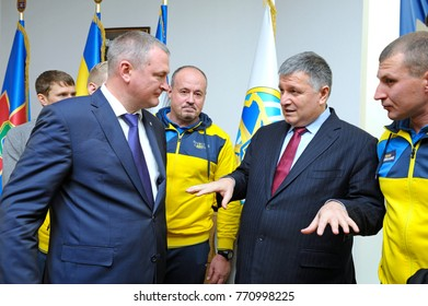 Arsen Avakov, Minister of Internal Affairs, and Serhiy Kniazev, Chief of police, discuss success of national team «Invictus Games-2017» after ceremony of awarding. December 8, 2017. Kiev, Ukraine
