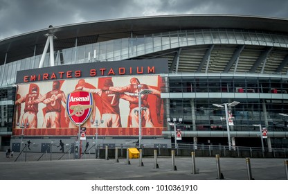 Arsenal Emirates Stadium, London, United Kingdom - September 21, 2016 : Arsenal stadium with a dramatic sky, London United Kingdom