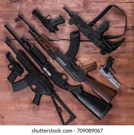 arsenal of firearms, assault rifles and pistols