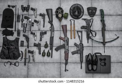 arsenal of firearms,crossbow