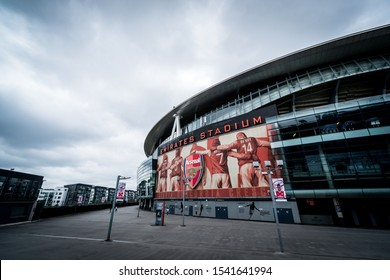 Arsenal, London, - Circa September 2019: Outside view of Emirates Stadium, with a capacity of over 60,000, it is the third-largest football stadium in England.
