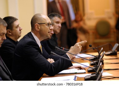 Arseniy Yatsenyuk, the Prime Minister of Ukraine, keeping speech during meeting of Cabinet of Ministry of Ukraine. November 21, 2015. Kiev, Ukraine