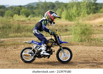 ARSENYEV, RUSSIA - AUG 30: Rider participates in the  round of the 2014 Russia motocross championship on August 30, 2014 in Arsenyev, Russia.
