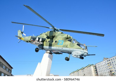 Arsenyev, Russia, January, 28, 2017. The monument to the MI-24 helicopter in Arsenyev