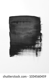 Art abstract black background brush paint texture design acrylic stroke poster on white background