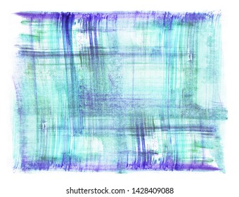 Art abstract blue and violet hand painted texture. Dry brush background