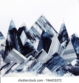 Art background. Ink texture on paper. Abstract mountains collage