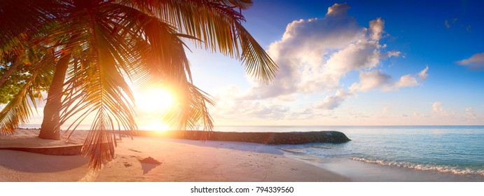 Art Beautiful sunrise over the tropical beach web banner panorama or print. Vacation holiday concept background wallpaper.