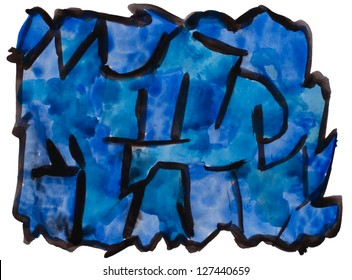 art blue, black watercolor isolated for your design