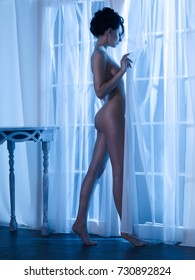 Art boudoir fashion photo of nude elegant woman at the window in the moonlight. Perfect body. Beauty and health