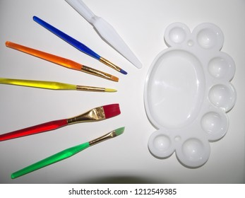 art brushes and color palette