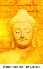 Art Buddha statue on watercolor and grunge background.