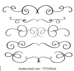 art calligraphy flourish of vintage decorative whorls for design.  illustration