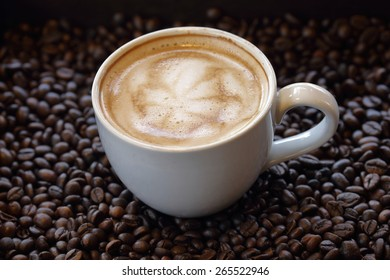 The art of cappuccino or latte on white coffee cup.