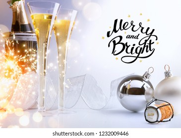 art Christmas or New Year's party; Merry and Bright 2019