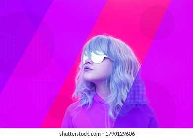Art collage with alternative funky woman with blue hair on a bright blue purple background. Close up fashion portrait young beautiful woman in glasses. Unusual youth fashion concept.