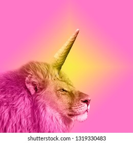 art collage animal, lion king, rainbow pastel colors, social mood vibes