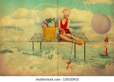 art collage with beautiful woman, retro style, fantasy