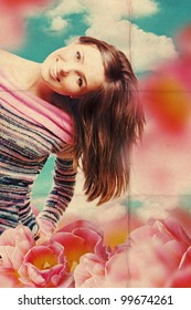 art collage with beautiful woman in tulips, retro texture