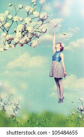 art collage with beautiful woman, vintage
