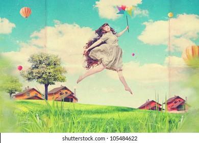 Kunstcollage mit schöner junger Frau im Sprung, Vintage