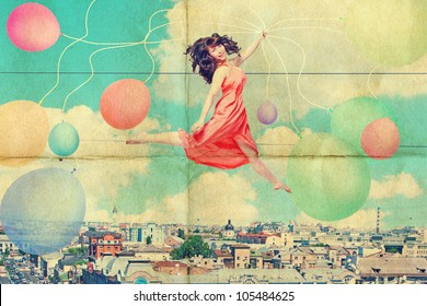 art collage with beautiful young woman in jump, vintage