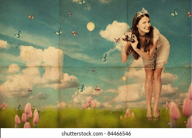 art collage with beautiful young woman, vintage pattern