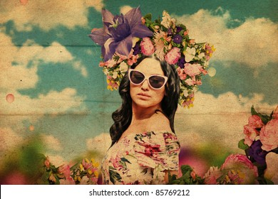 art collage. beautiful young woman with flowers on the head, vintage texture