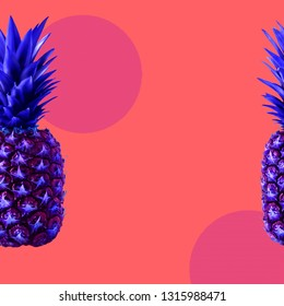 Art collage with copy space in zine concept Asymmetric abstract background with pineapple, circles and dotted elements in bright blue, pink and coral colors Poster template with copy space