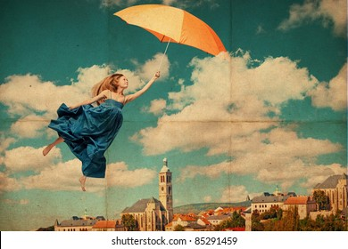 art collage with flying woman, vintage image