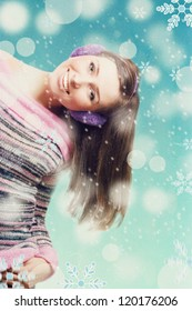 art collage with winter girl