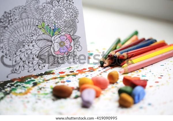 Art and Color Therapy. Anti Stress Adult coloring book.
