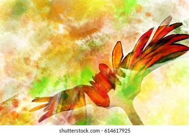 art colorful splashed background with watercolor paint of flower