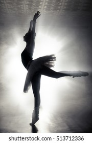 Art concept. Silhouette of a dancing ballerina.