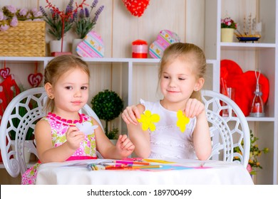 Art and craft activity in the kindergarten two cute little kids