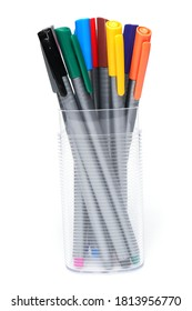 Art and craft equipment drawing pen, multicoloured colored marker on white background. School craft art tool.