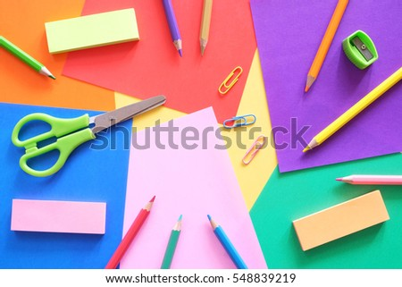 Art Craft Supplies On Colorful Paper Stock Photo Edit Now