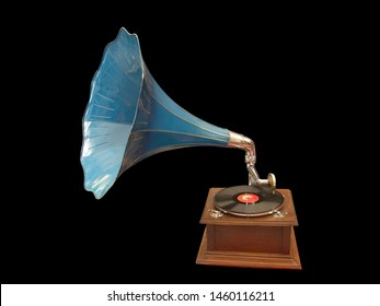 Art creation related to instrument featuring music gramophone blue. The artistic domain is music.