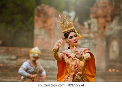 Art culture Thai Dancing in masked khon Benjakai in literature amayana,Thailand