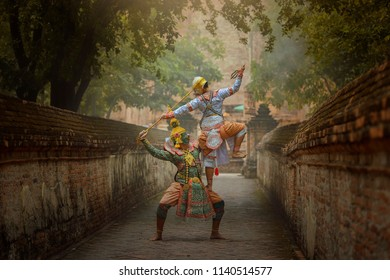 Art culture Thailand Dancing in masked khon Totsakan and Hanuman  in literature amayana,thailand culture Khon,Thailand