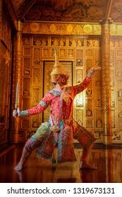 Art culture Thailand Dancing in masked khon  in literature amayana,Khon Thailand