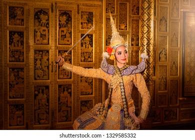 Art culture Thailand Dancing in masked khon Benjakaj and Hanuman  in literature amayana,thailand culture Khon