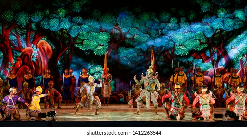Art culture Thailand Dancing in masked khon in literature ramayana,Thai classical monkey masked, Khon,Thailand