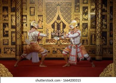 Art culture Thailand Dancing in masked khon Hanuman  in literature ramayana,thailand culture Khon,Thailand