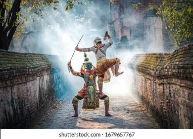 Art culture Thailand Dancing in masked khon Totsakan and Hanuman in literature amayana,thailand culture Khon,Thailand