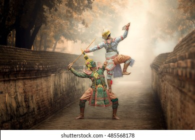 Art culture Thailand Dancing in masked khon Tos-Sa-Kan and hanuman in literature Ramayana.
